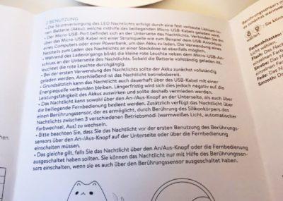 """NAVARIS LED Silikon Nachtlicht """"Smile Cat"""" in Form einer stilisierten Katze - Bedienungsanleitung"""